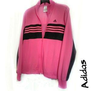Adidas large pink black track jacket GUC